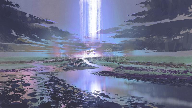 Night scenery of waterfall in the sky vector illustration