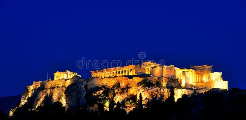 Night scenes of Acropolis and Parthenon royalty free stock photos