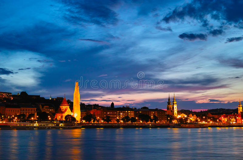 Night scenes of along the Danube stock photos