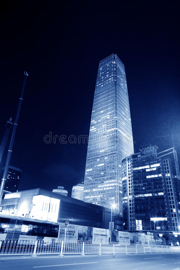 Night scenes of beijing financial center district stock images