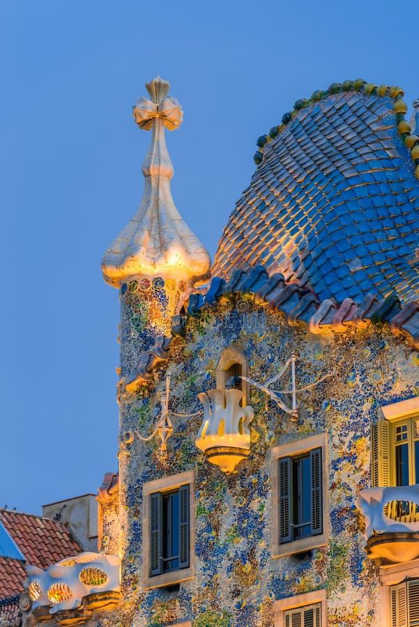 Night scenes of Casa Batllo. In Barcelona stock photography