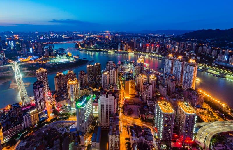 The night scenes of Chongqing. Chongqing city, skyline night scene view stock photos