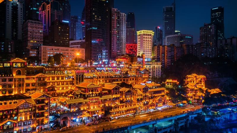 Night Scenes of Chongqing Hongya cave stock photos