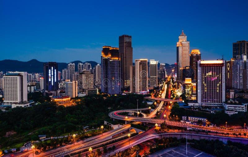 Night scenes of Chongqing. When the sun sets, Chongqing became very beautiful stock photography
