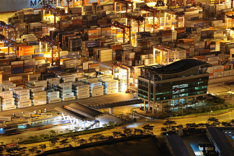 Night scenes of container collection area stock photo