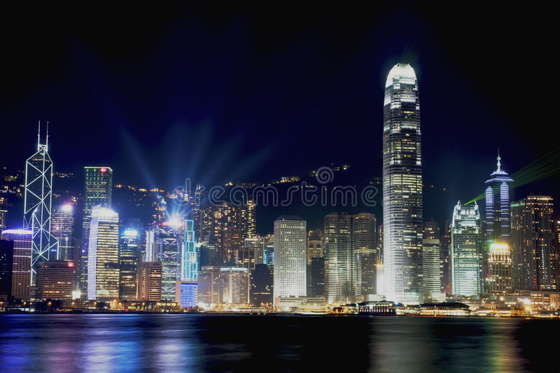 Night scenes of Hong Kong at Victoria harbour royalty free stock photo
