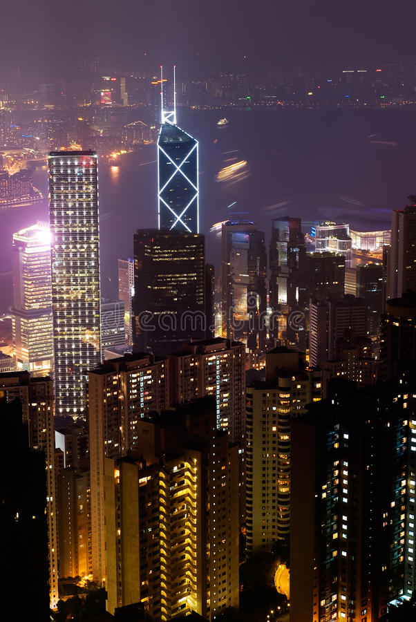 Night scenes of modern skyscraper in Hong Kong royalty free stock photo