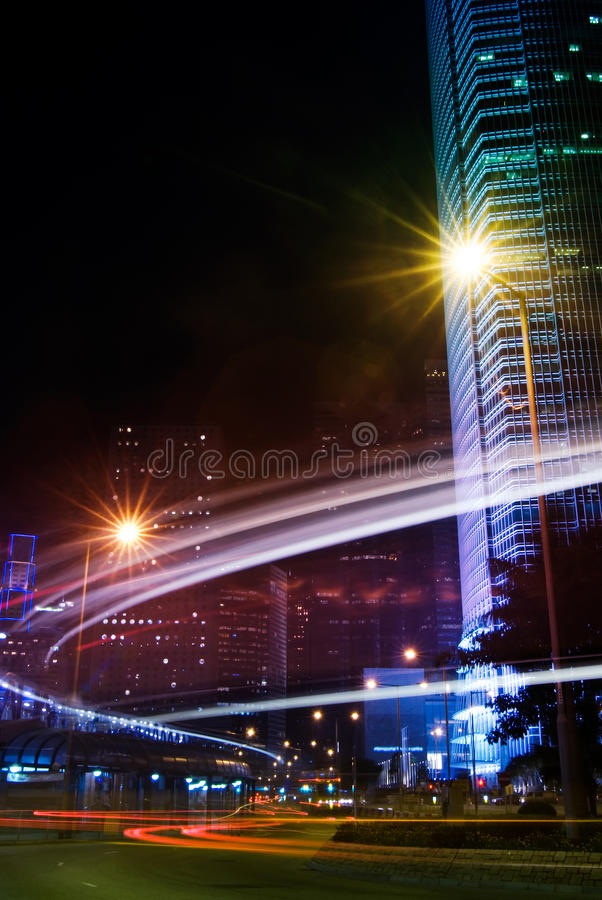 Night scenes of skyscraper royalty free stock photo