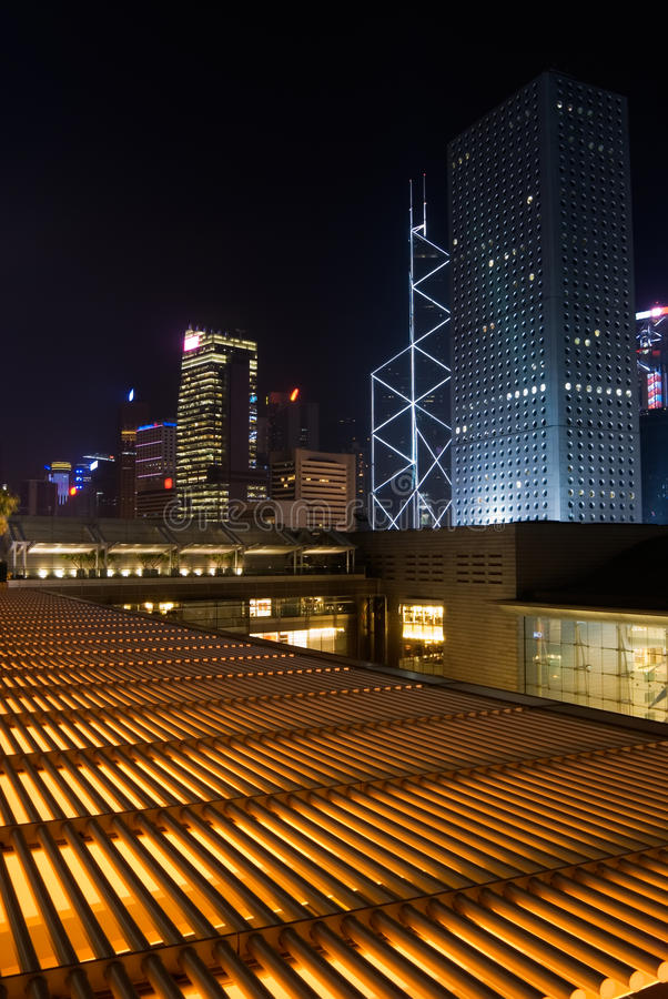 Night scenes of skyscrapers royalty free stock image