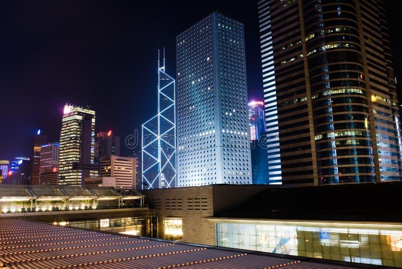 Night scenes of skyscrapers royalty free stock photos