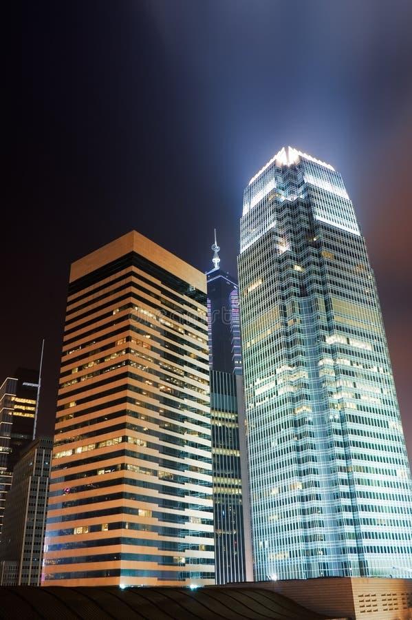 Night scenes of skyscrapers stock image