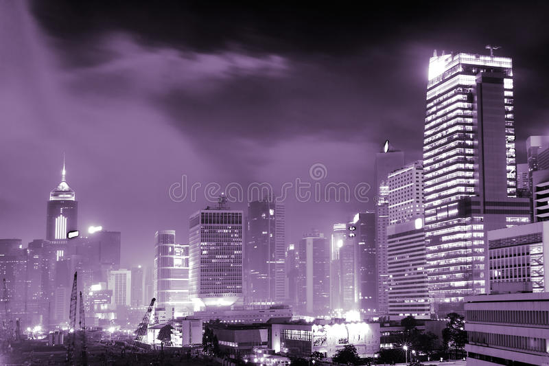 Night scenes of skyscrapers royalty free stock photography