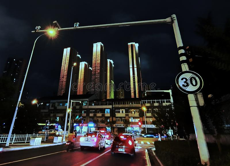 Night scenes of street view in wuhan city, china. Nigh scenes of street view in wuhan city, hubei province, china royalty free stock photo