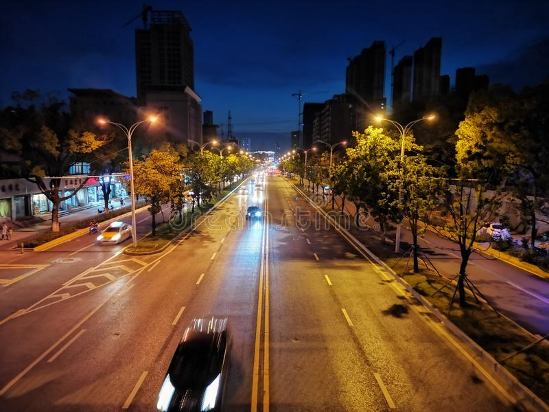 Night scenes of street view in wuhan city, china. Nigh scenes of street view in wuhan city, hubei province, china royalty free stock photos