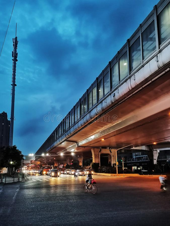 Night scenes of street view in wuhan city, china. Nigh scenes of street view in wuhan city, hubei province, china stock photo