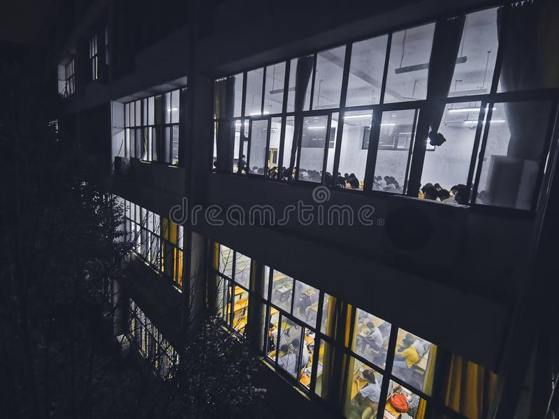 Night scenes of university teaching building in wuhan city royalty free stock photos