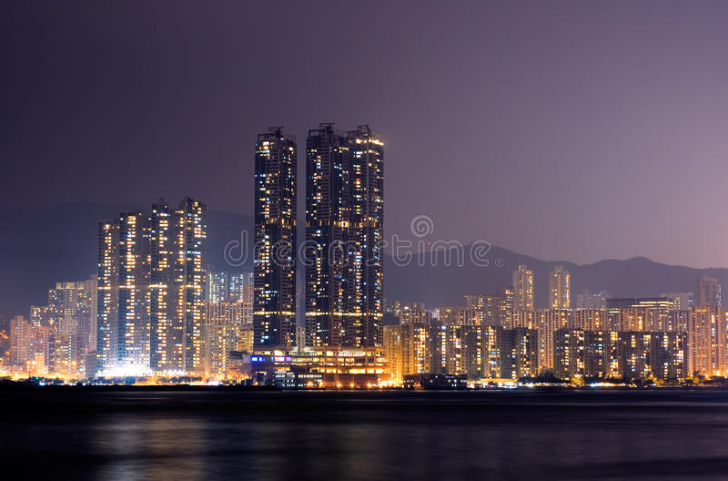 Night scenes of Victoria harbor in Hong Kong stock photo