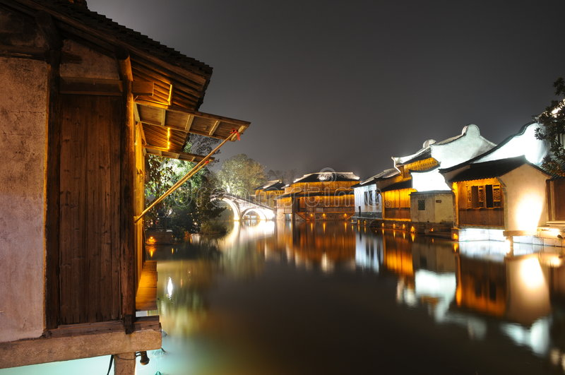 The night scenic of watery town. The night scenic of the watery town of Wuzhen,Tongxiang,Jiangsu,China stock photos