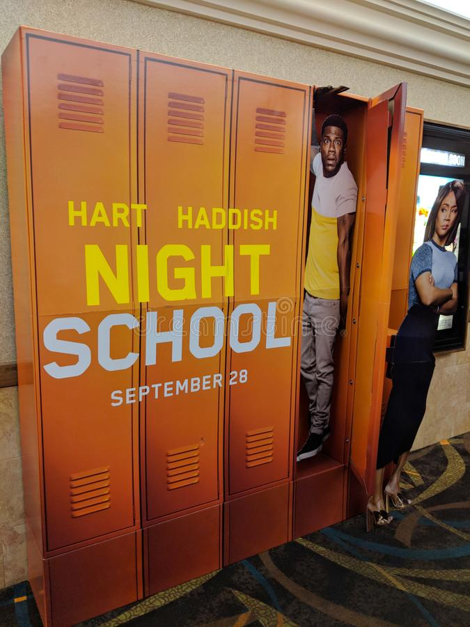Night School Poster in Movie Theater royalty free stock photos