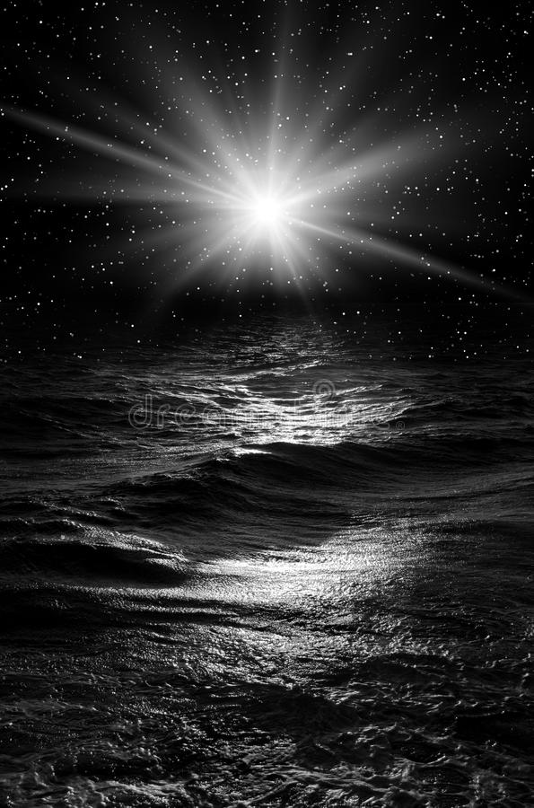 Night in the sea royalty free stock images