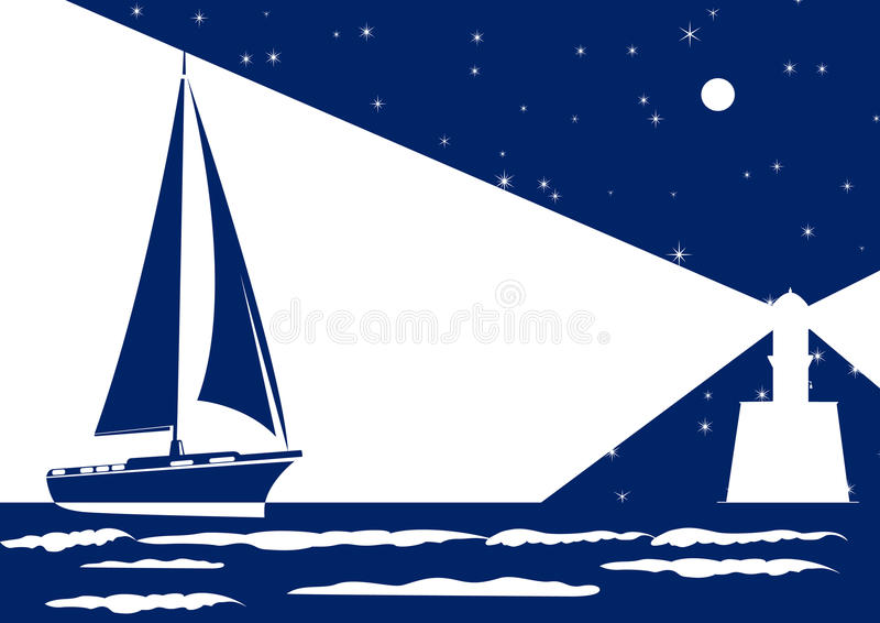 Download Night sea stock vector. Image of beam, architecture, light - 23779700