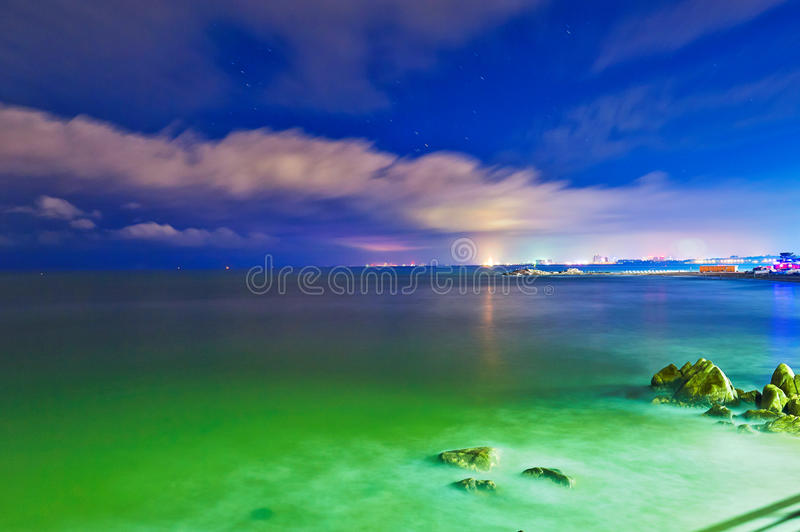 Download The night sea landscape stock photo. Image of light, wave - 37102886