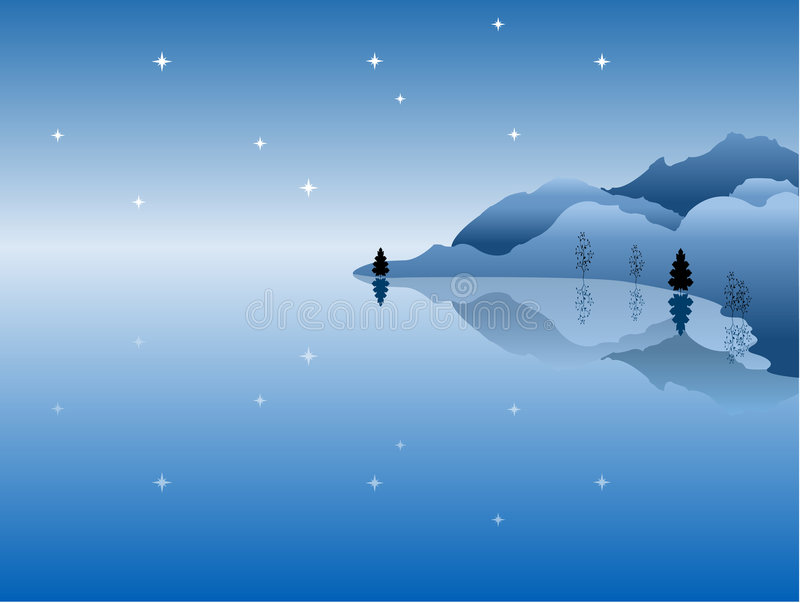 Download Night Sea And Mountains Landscape Stock Vector - Illustration: 7469341