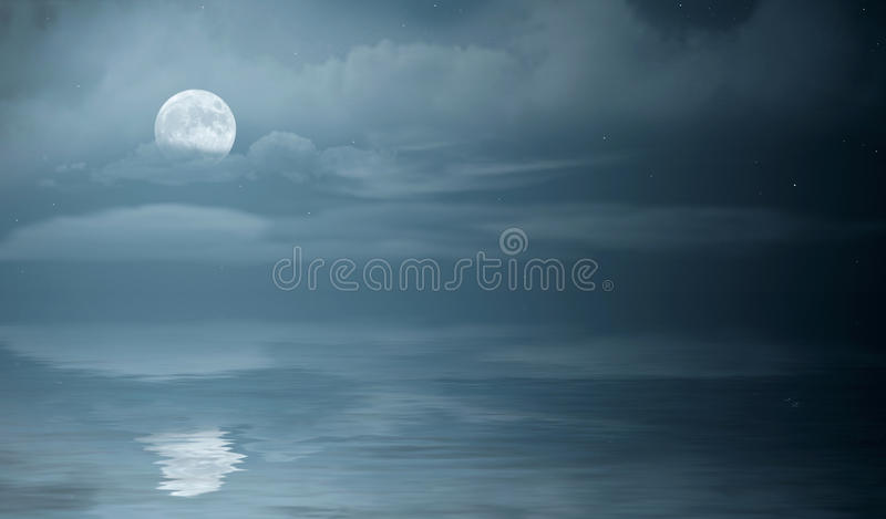Night sea stock photo