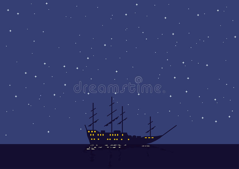 Download Night Seascape With The Vessel Stock Vector - Image: 9914340