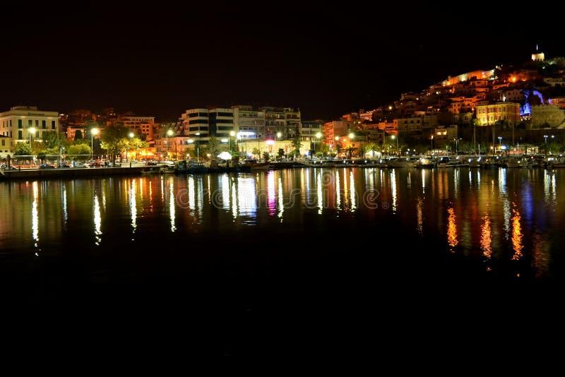 Night seaside town. stock photos