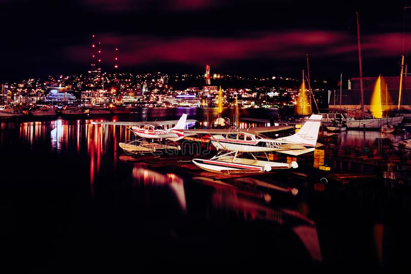 Night Seattle scene with a seaplane base stock photography