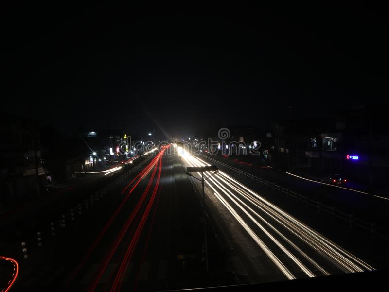 Night seen of East-West Highway near butwal new bus park nepal. Low shutter speed picture stock photos