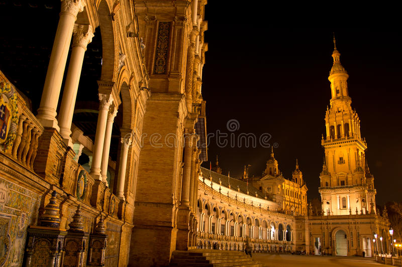 Night in Sevilla in Plaza de Espana. The beautiful view of the Spanish Square royalty free stock photos
