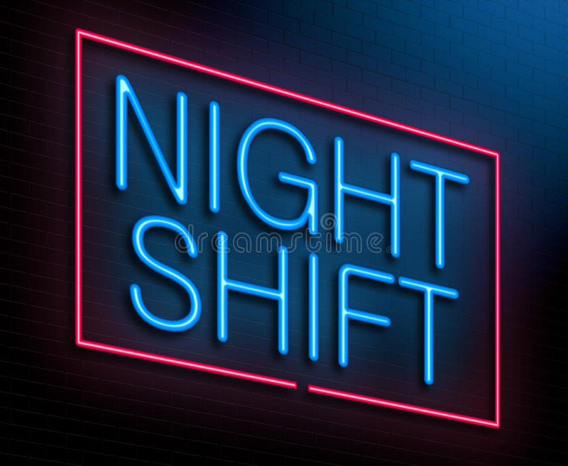 Night shift concept. Illustration depicting an illuminated neon sign with a night shift concept stock illustration