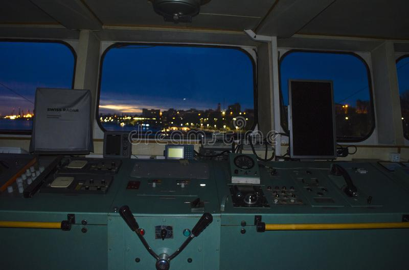 Night shift on Danube river. Danube, Braila port, this photo was take when my shift begun on historycal boat that belong to the romanian dictator Nicolae stock image