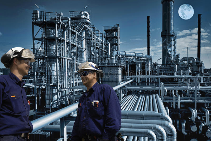 Night Shift At Large Oil And Gas Refinery Stock Image