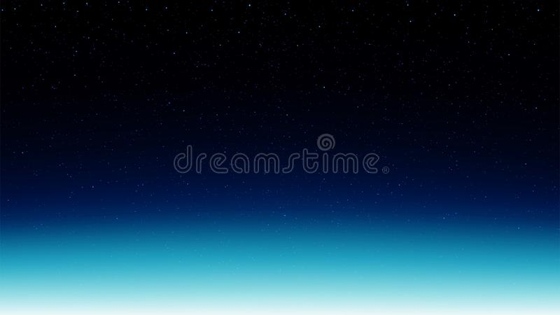 Night shining starry sky, blue space background with stars, cosmos. Night shining starry sky, dark blue space background with stars, cosmos stock illustration