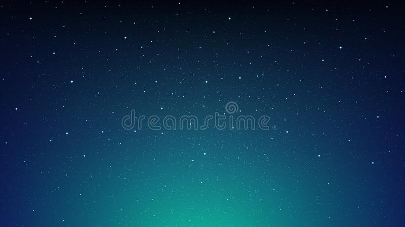 Night shining starry sky, blue space background with stars, cosmos. Decoration royalty free illustration