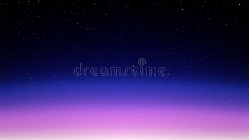 Night shining starry sky, pink blue space background with stars, cosmos vector illustration
