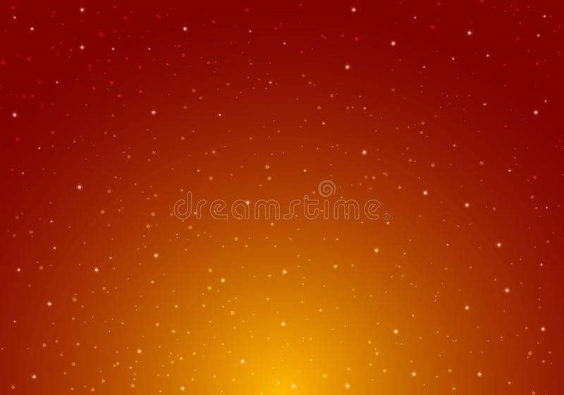 Night shining starry night sky with stars universe space infinity and starlight on red and orange background. Galaxy and planets vector illustration