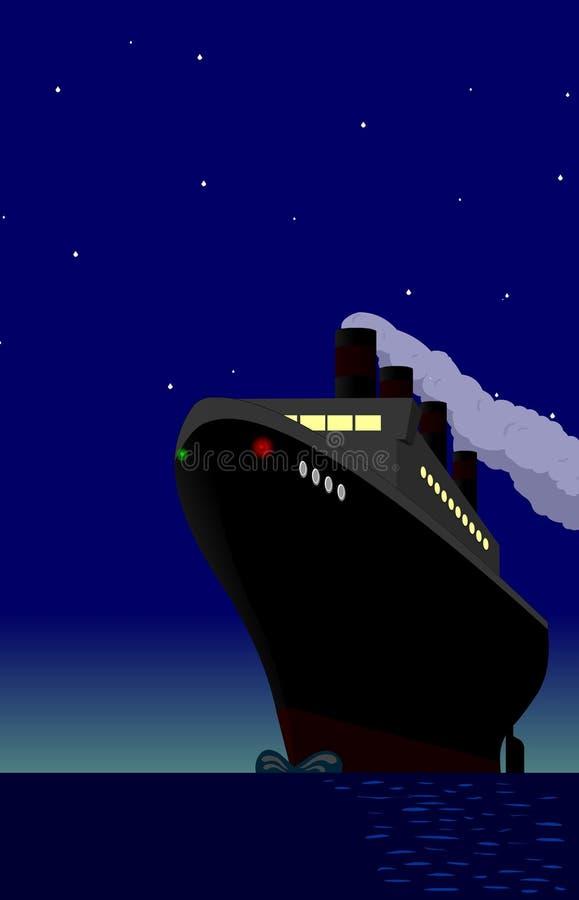 night ship vintage απεικόνιση αποθεμάτων