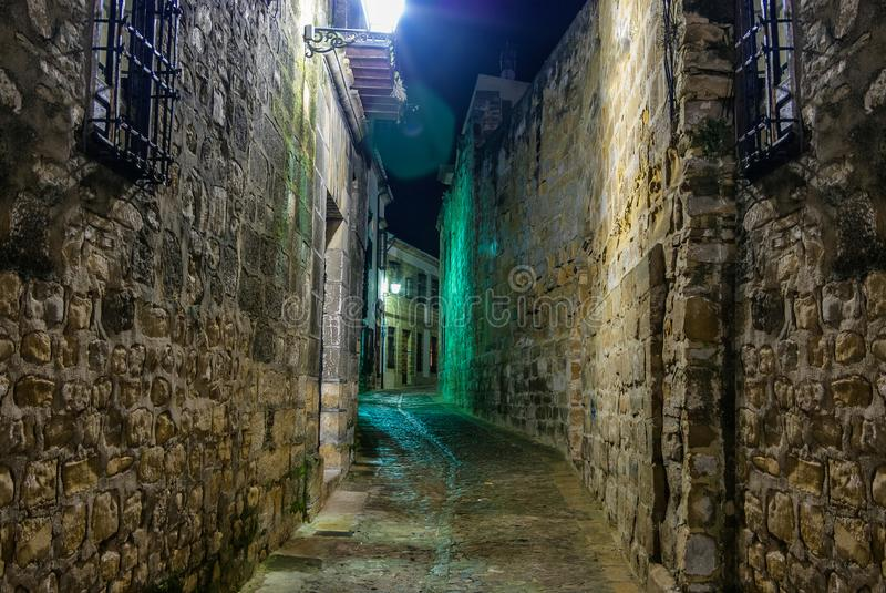 Night shoot of the Medieval old town of Baeza, Jaen royalty free stock images