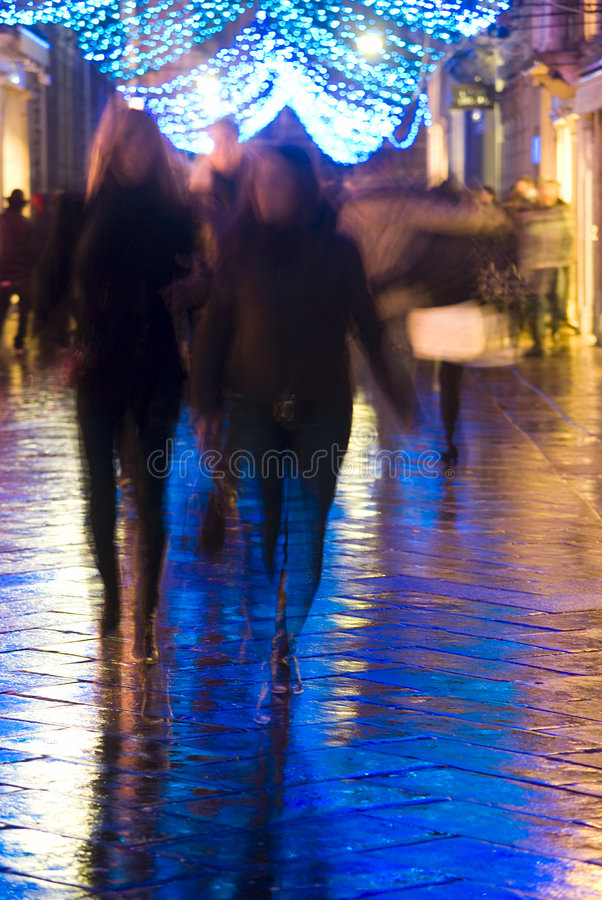 Night shopping in the city stock images