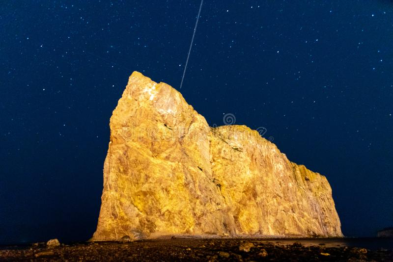Beautiful Perce Rock, Gaspe Peninsula, Quebec, Canada. Night shot of the beautiful Perce Rock, Gaspe Peninsula, Quebec, Canada royalty free stock image