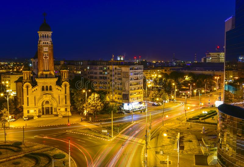 Orthodox cathedral and main square in Ploiesti , Romania. Night shot with the main city junction and the orthodox cathedral in Ploiesti City, Romania royalty free stock photos