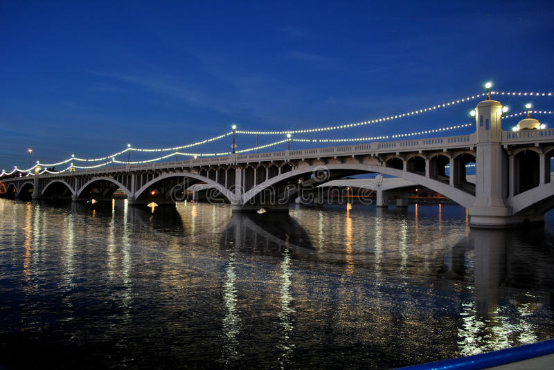 Night Shot of Mill Avenue Bridge Tempe Beach Park with Mirror Reflection Salt River stock images