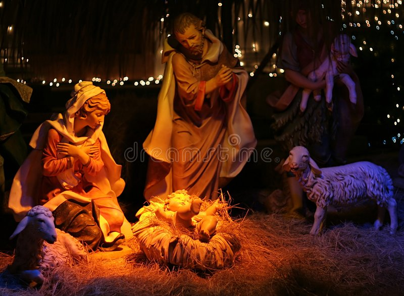Night shot of a Nativity Scene. With Shallow Depth of Field