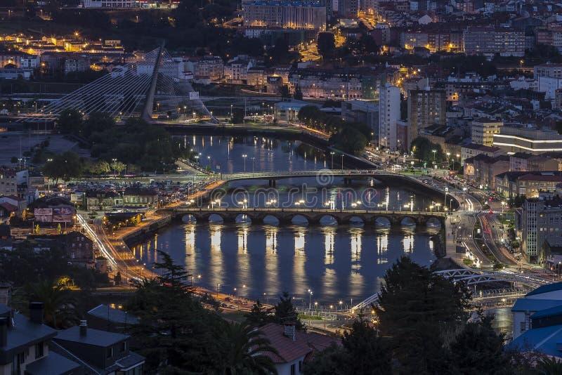 Ponte da Barca Pontevedra Galicia Spain. Night shot of Ponte da Barca over Lérez river Pontevedra Galicia Spain stock image