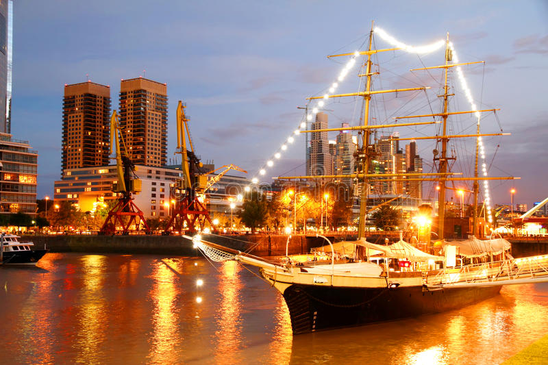 Puerto Madero in Buenos Aires. Night shot of the Puerto Madero in Buenos Aires, Argentina, South america royalty free stock photos