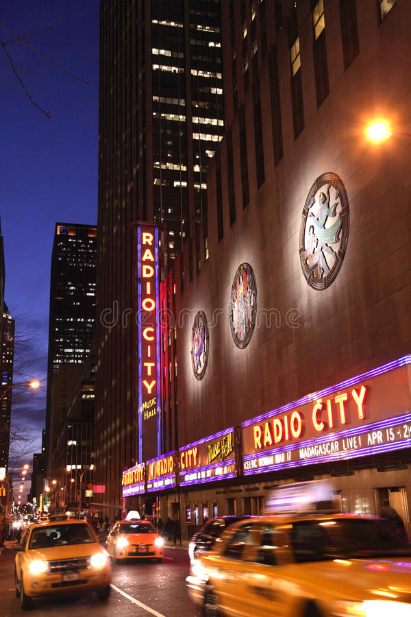 Night shot of Radio City Music Hall stock images
